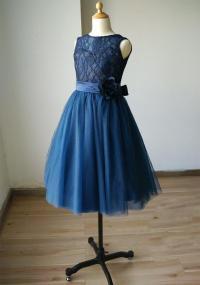 Navy Blue Lace Sweetheart Tulle Keyhole Flower Girl Dress ...