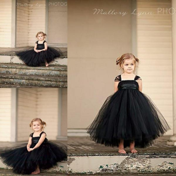 Classic Black Flower Girls' Dresses Tutu Dress Cap Sleeves