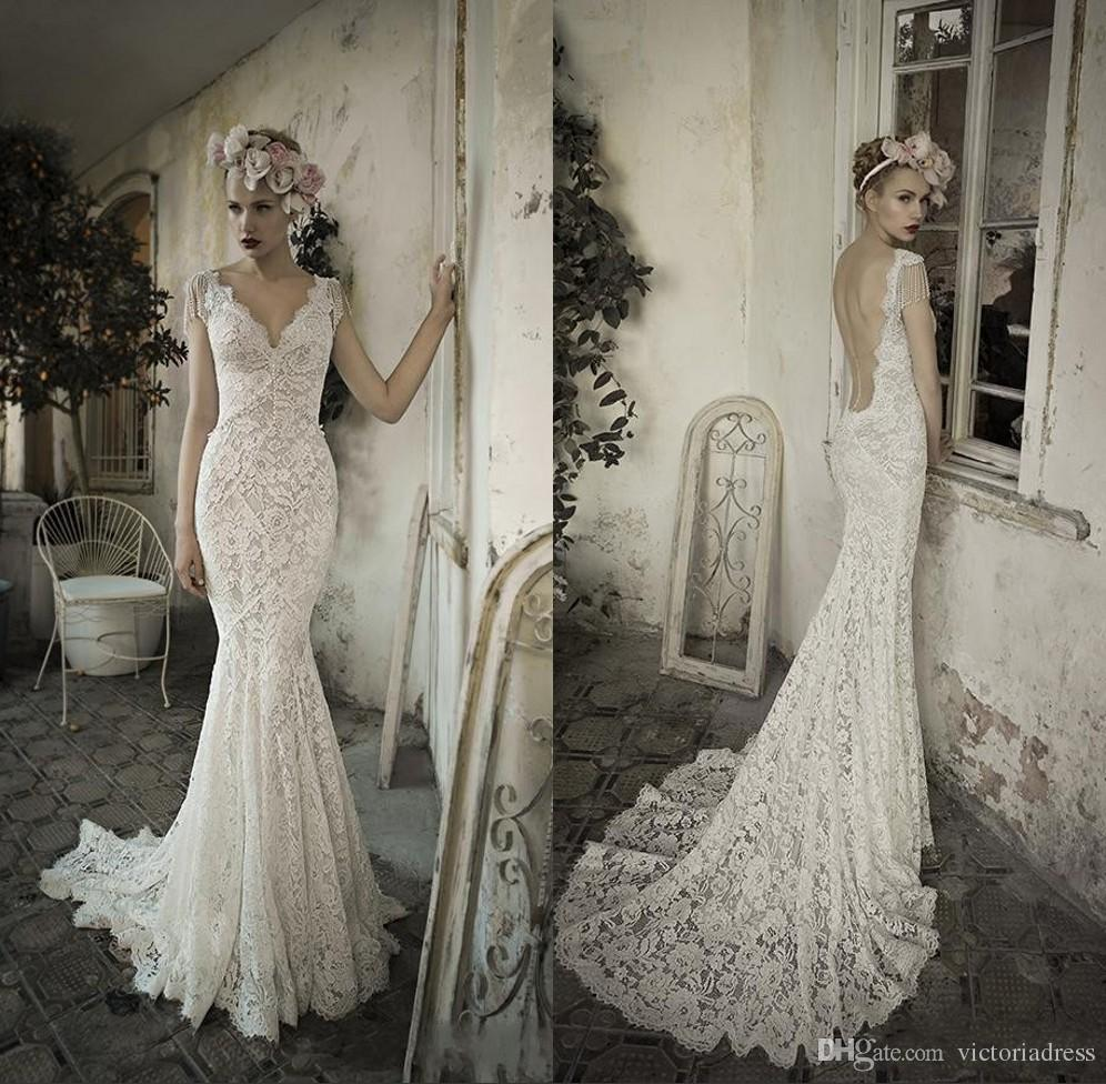 Vintage Couture See Through Lace Wedding Dresses Sexy Backless Wedding Dress V Neck Cap Sleeve