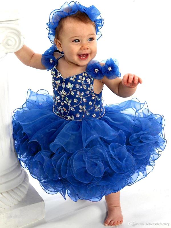 Royal Blue Cute Cupcake Toddler Girls Pageant Dresses