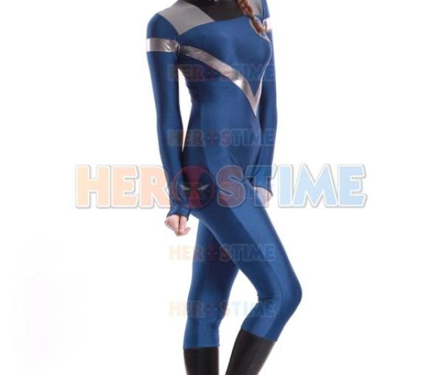 Lycra Spandex Fantastic Four Invisible Woman Costume Blue Fullbody Superhero Zentai Suit Child Costumes Group Halloween Themes From Yaowenbin