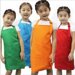 Kitchen Apron For Kids Metal Cabinets Manufacturers New Aprons Pocket Craft Cooking Baking Art Painting Dining Bib Children Vintage From