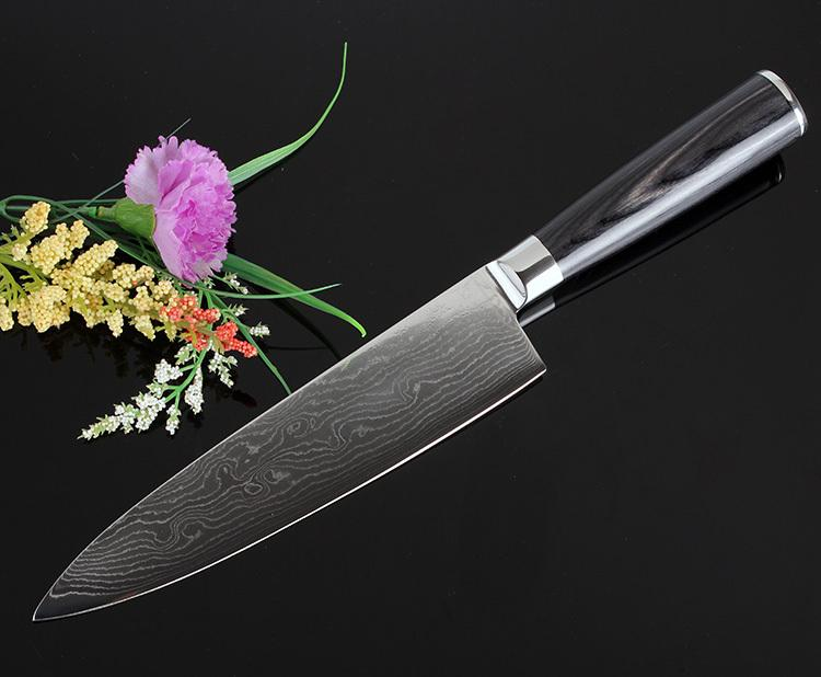 damascus kitchen knives industrial lighting professional micarta 8 inch vg10 chef knife 71 layers steel cheung moire wave cooking tools high quality