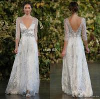 Vintage 2016 Silver Lace Wedding Dresses A Line Plunging V ...
