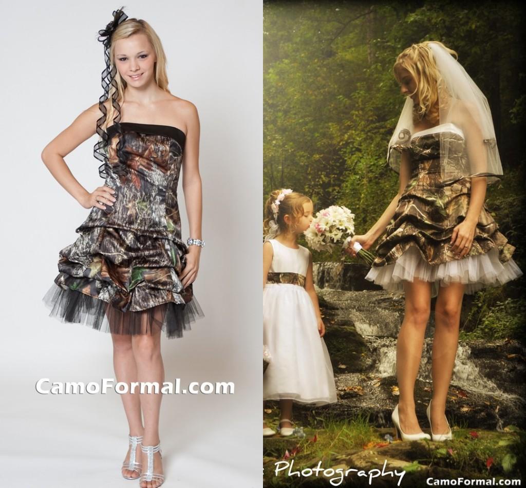 Discount Camo Black Gothic Wedding Dresses Strapless Knee
