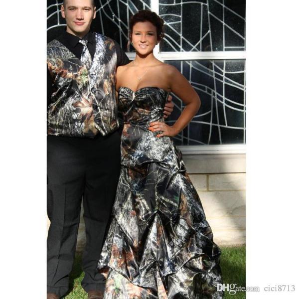 Mossy Oak Camo Prom Dresses With Sweep Train Pick Dress