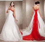 Red and White Chinese Wedding Dress