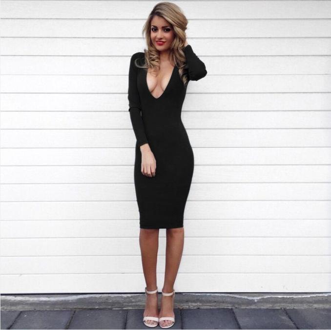 Image Result For Deep V Dress Long Sleeve