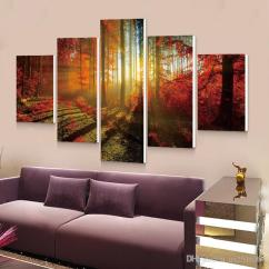 Large Canvas Art For Living Room Glass Accent Tables 2019 Forest Painting 5p Wall Picture Home Decoration Print Modern Cheap From Ax2516387