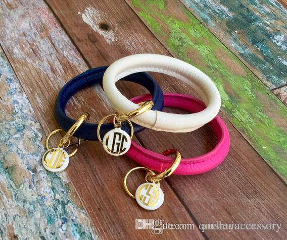 monogram enamel keychain monogrammed keychain monogram bracelet bridesmaids bracelet