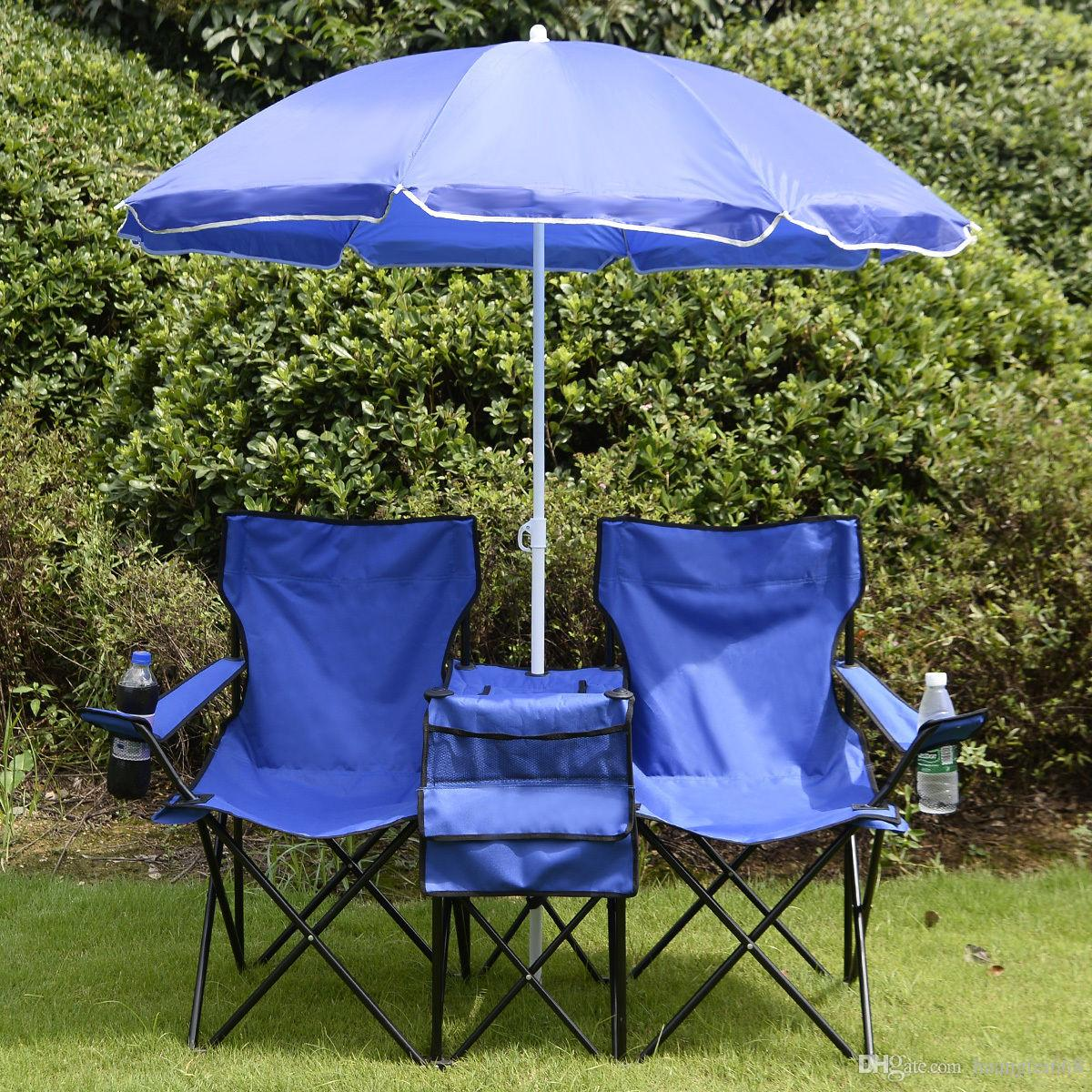 folding chair with umbrella wooden card table and chairs portable picnic double cooler beach camping online 52 56 piece on