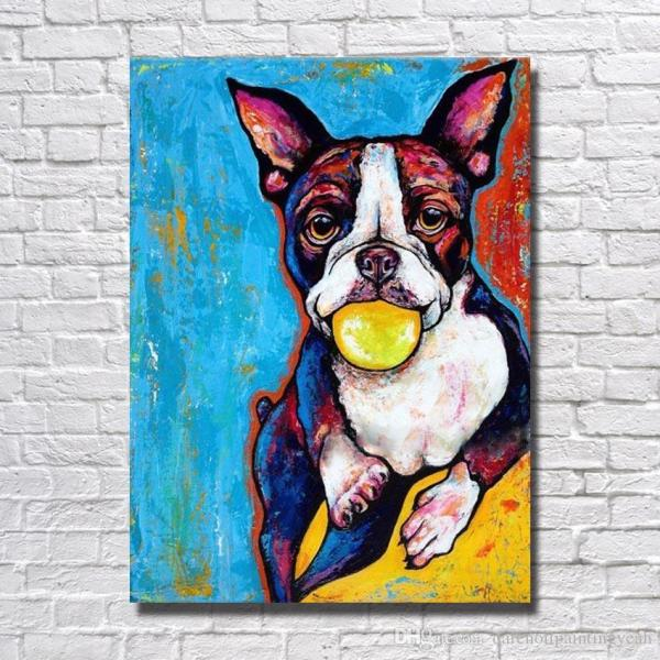 2019 Famous Animal Artwork Hand Dog Oil Painting