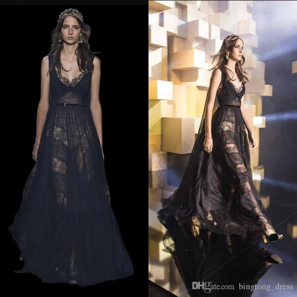 2016 Sexy Elie Saab Evening Dresses Black Couture Elegant