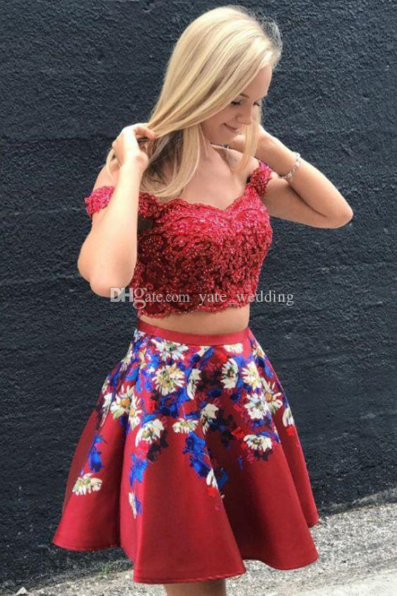 2018 Newst Two Piece Red Homecoming Dresses Off Shoulder Appliques Lace Embroidery Satin Plus Size Short Prom Dresses Cocktail Dresses Homecoming Dresses For Tall Girls Homecoming Dresses Lace From Yate_wedding, $99.01Com