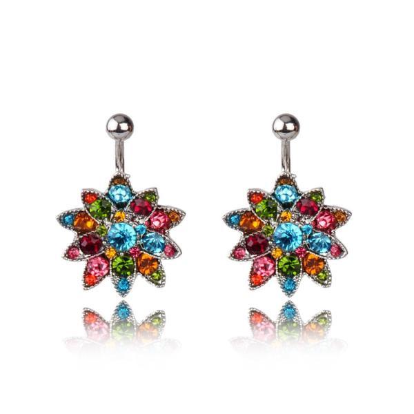 2017 Emerald Rhinestone Flowers Piercing Belly Button Ring