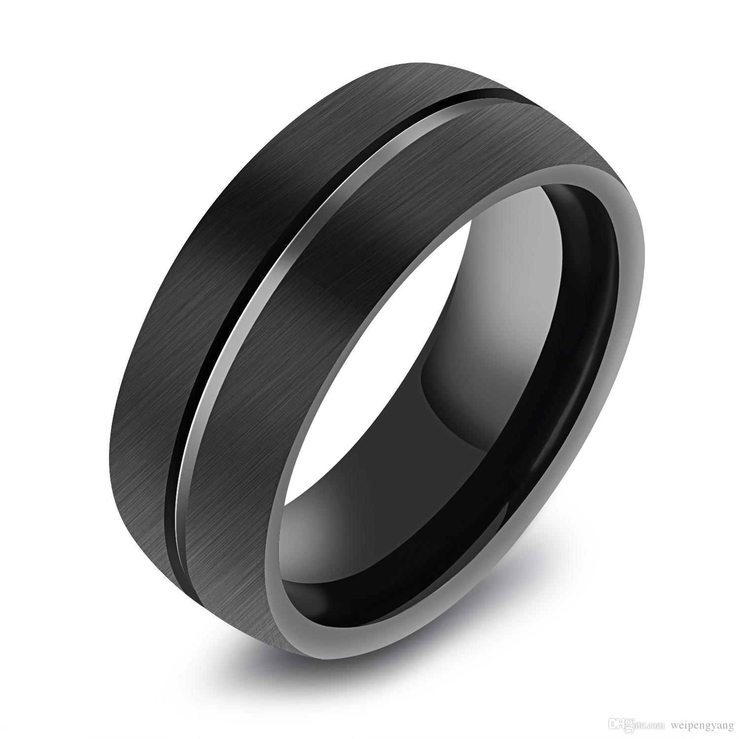 2019 8mm mens black tungsten ring domed surface tungsten carbide brushed silver black wedding band from weipengyang 46 91 dhgate com
