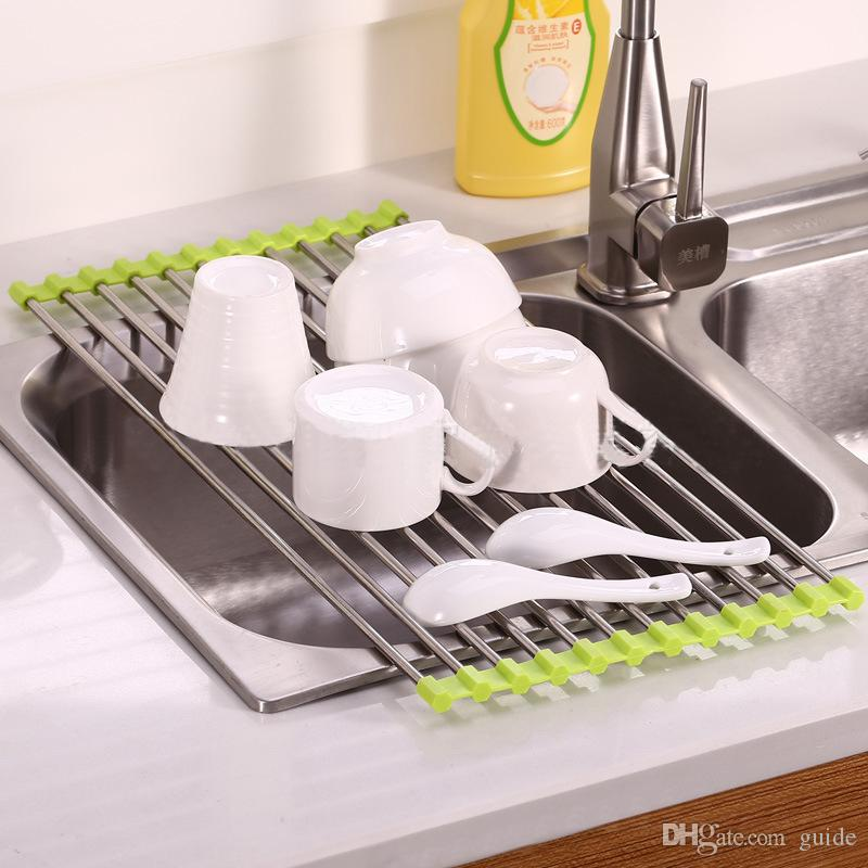 kitchen sink rack how do you paint cabinets easy to use foldable stainless steel dish cutlery drainer drying holder useful tools gadgets must have