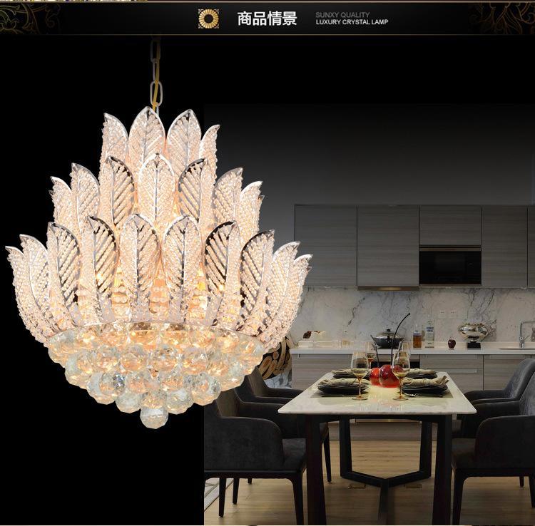Modern Luxury Chandeliers Crystal Lotus Droplight Living
