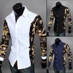 Black and Gold Dress Shirt Men