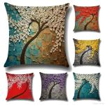 New Flower Printed Cushion Covers 3d Soft Linen Pillow Cases Creative Tree Pattern Cover Decorative Pillows