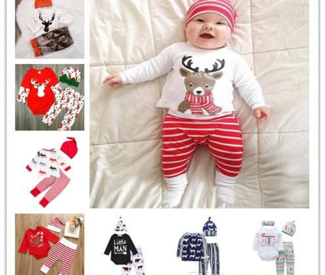 Baby First Christmas Clothing Set Newborn Baby Boys Girls Bodysuit Shirtstripe Pantshat Outfits Clothes From Mic Dhgate Com