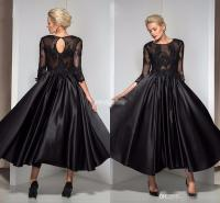 Vintage Tea Length Formal Evening Dresses Black Satin with