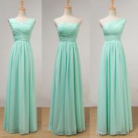 Mint Green Long Chiffon Bridesmaid Dress Lace Up 2017 ...