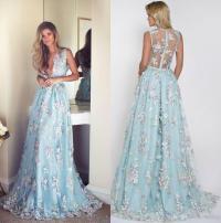 Sexy 3d Floral Appliqued Prom Dresses Long Deep V Neck ...