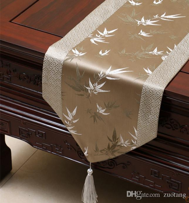 Elegant Bamboo Patchwork Table Runner Luxury Chinese Style