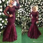 Burgundy Long Sleeve Lace Prom Dress 2018