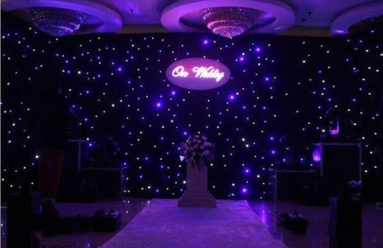 3mx6m Blue White Color LED Star Curtain Wedding Stage