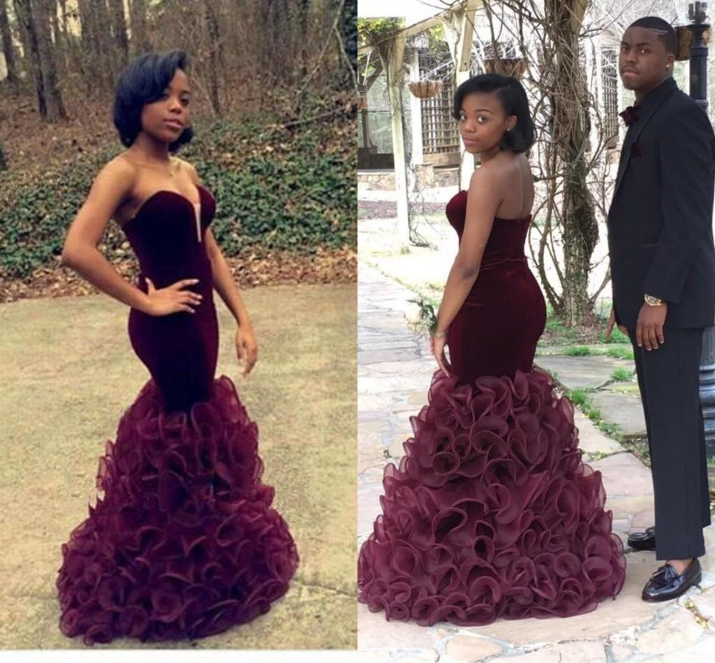 2018 Prom New Unique Black Girl Prom Sweetheart Strapless