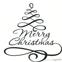 Christmas Tree Wall Stickers Art Design Removable Merry ...