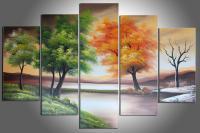 2017 100% Handmade Oil Paint Four Seasons Tree Painting ...