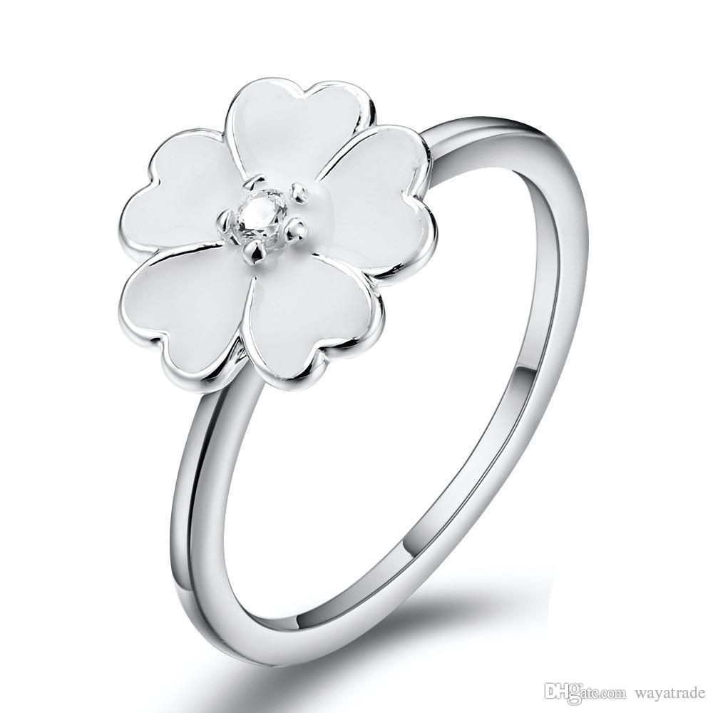 White Enamel Flower Zircon Ring European 925 Sterling