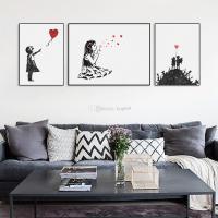 2018 Modern Black White Banksy Poster Print A4 Urban