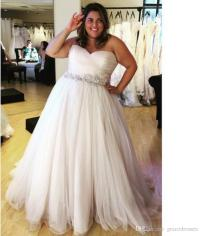 Discount Plus Size Beach Wedding Dresses With Crystal Belt ...