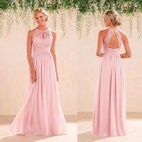 Blush Pink Halter Neck Lace Chiffon Long Bridesmaid ...