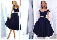 2016 Puffy Navy Blue Two Piece Prom Dresses Cap Sleeves ...