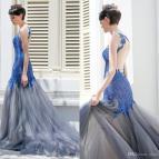 Beautiful Royal Blue Lace Mermaid Prom Dresses Sexy