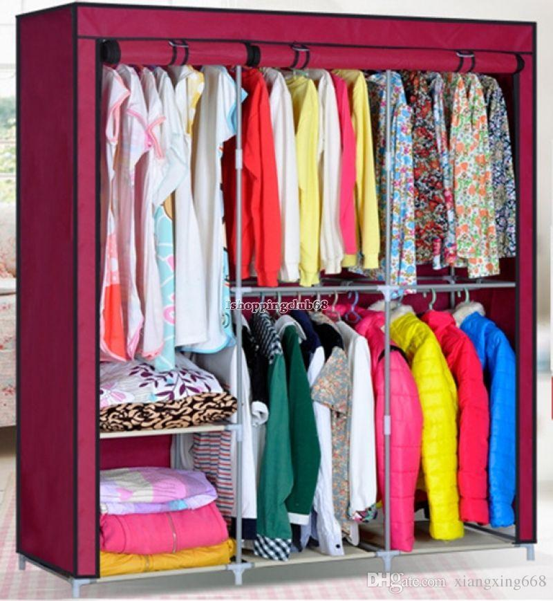 2019 63 Steel Portable Wardrobe Home Clothes Rack Shelves