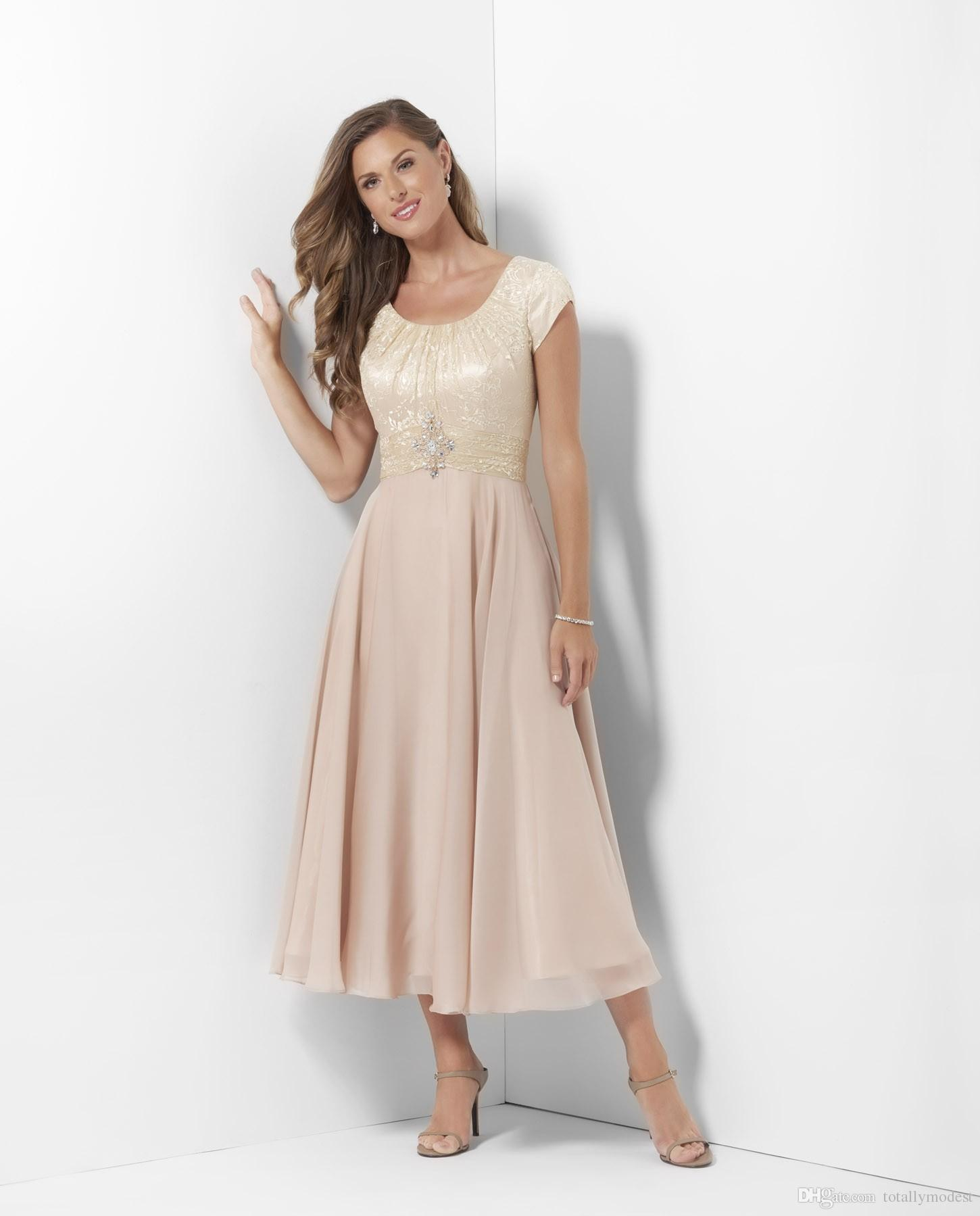 Champagne Tea Length Long Modest Bridesmaid Dresses With