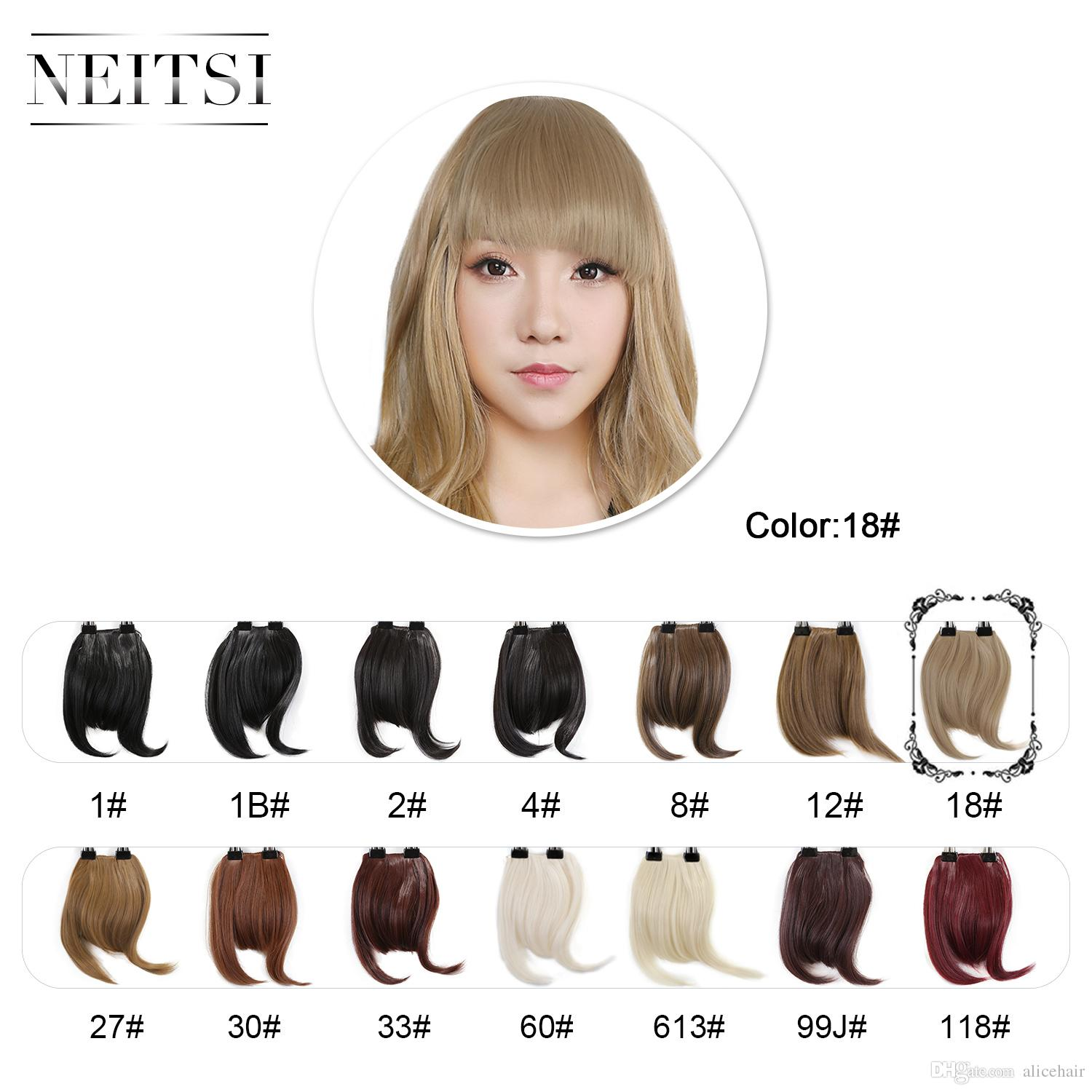 7 Blonde Neitsi Fake Front Fringe Clip in Bangs Hair Extentions