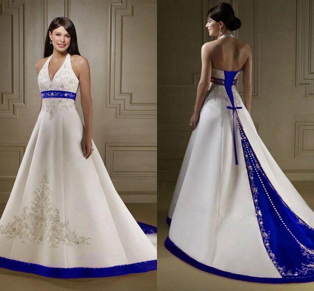Stunning Sexy A Line Wedding Dresses V Neck Halter White