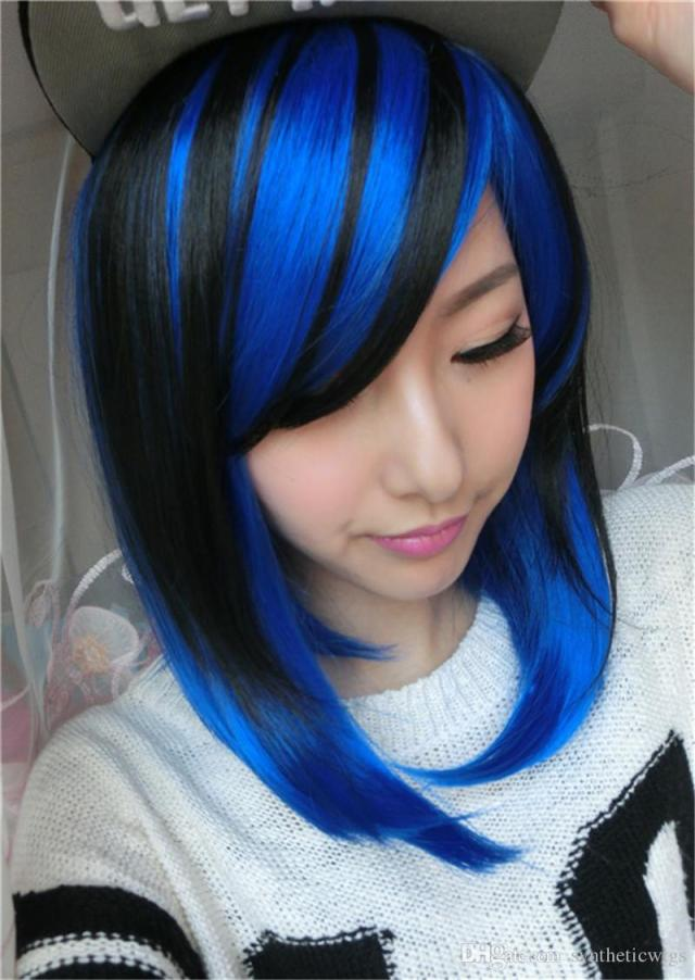 woodffestival short straight hair wigs black mix blue wig cosplay women lolita synthetic wigs anime heat resistant peruca ombre hair