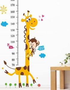 Kids height chart wall sticker decor cartoon giraffe ruler stickers home room decoration art poster decal sale also rh dhgate