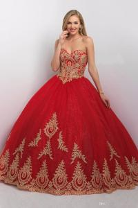Princess Ball Gown Red Gold Quinceanera Dresses With ...