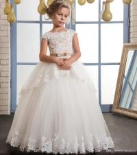 Vintage Lace Puffy Flower Girl Dresses For Weddings Ivory ...
