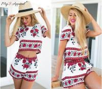 Best Flowers Two Piece Outfits Shorts Cotton Woman Summer ...