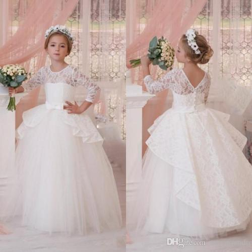 White Ball Gown Mini Wedding Dresses 2017 Lace Long Sleeve Ruched